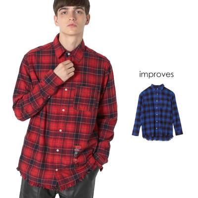 裾フリンジチェックシャツ